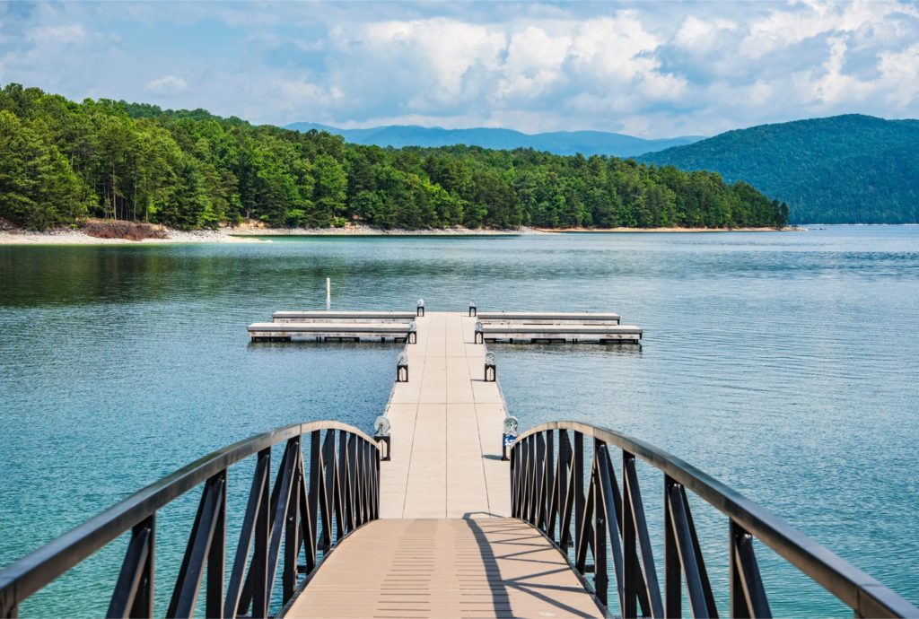 a view of a dock in Lake Hartwell from Clemson